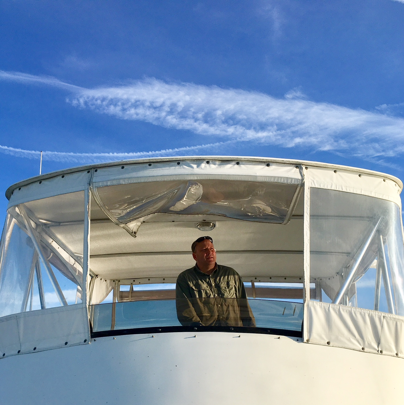 Pete at the upper helm.