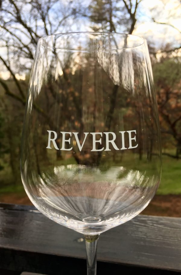 Reverie etched on wine glass.