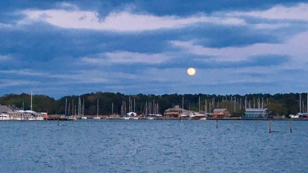 Moonrise, 4/29/18, over Rock Hall Harbor.